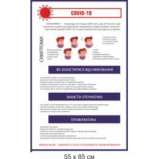"""Стенд """"Коронавірус COVID-19"""" біло-синій"""