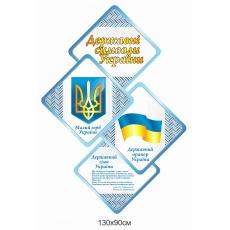 """Стенд """"Державні символи"""" з об'ємними гербом та прапором"""