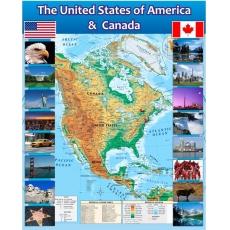 Стенд в кабінет англійської мови з картою США та Канади