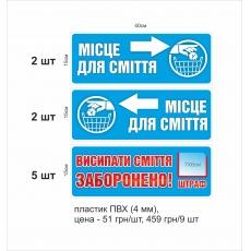Вказівні таблички «Місце для сміття»